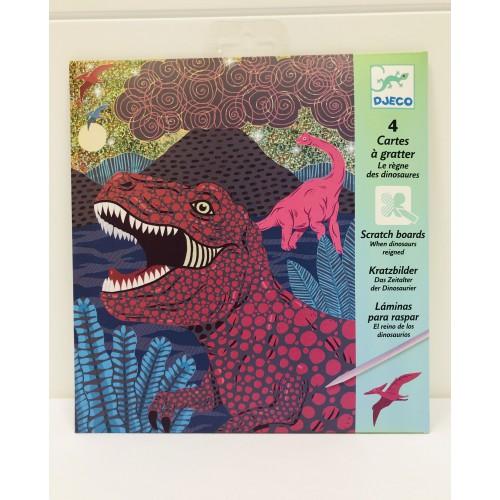 Láminas para rascar El reino de los dinosaurios