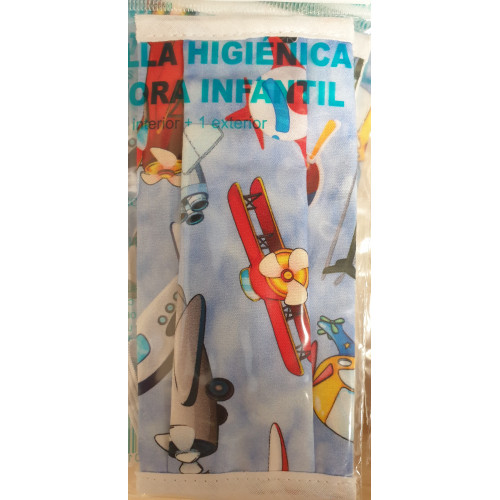 Mascarilla higiénica infantil aviones