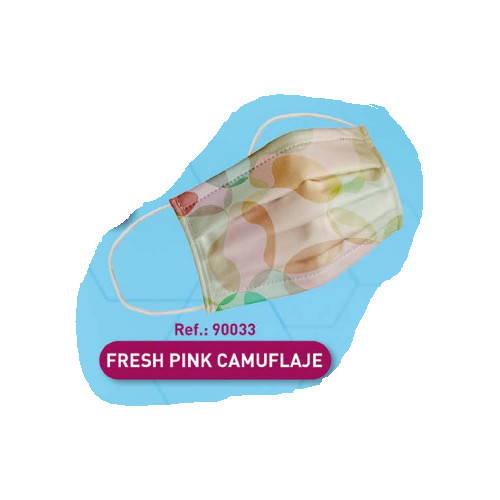 Mascarilla higiénica adulto camuflaje rosa